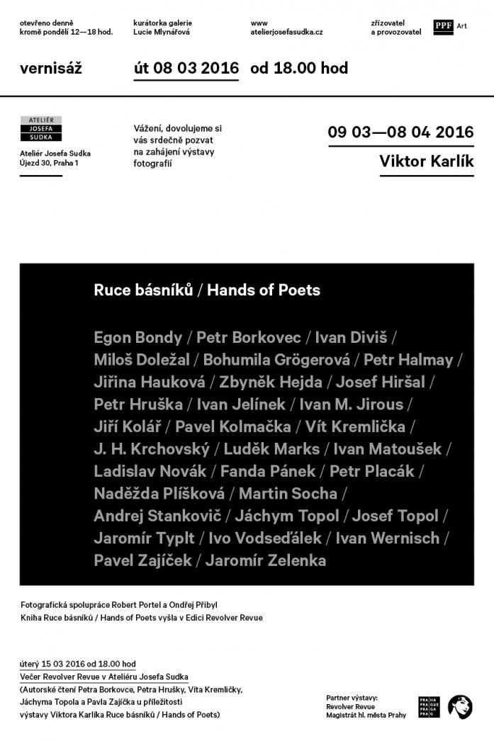 Pozvání na vernisáž / Viktor Karlík – Ruce básníků / Hands of Poets