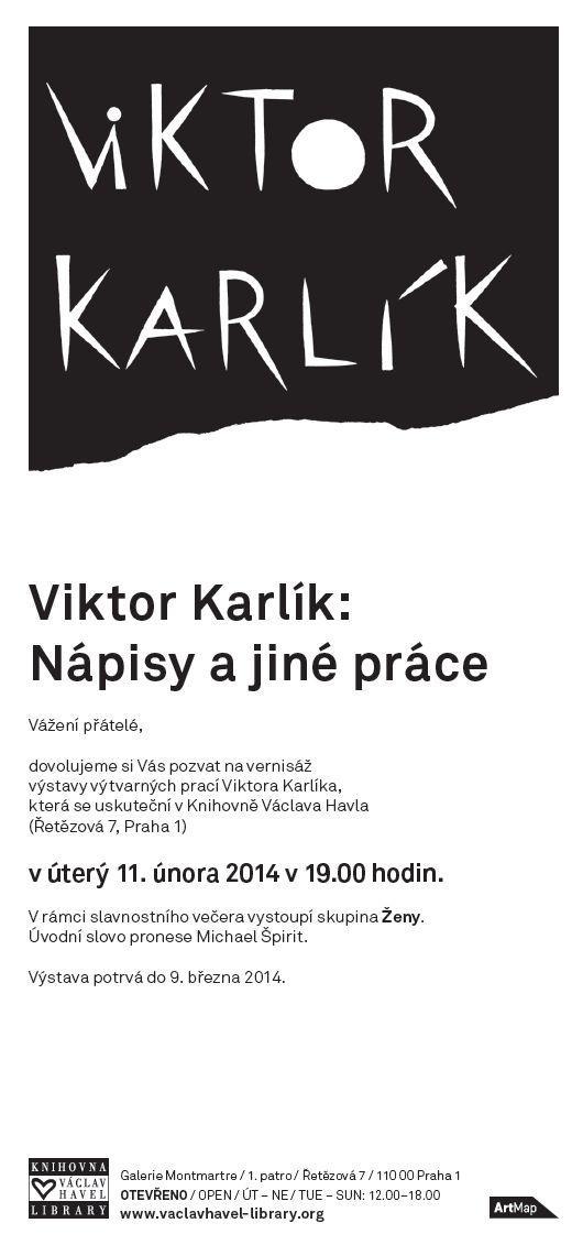 Pozvání / Výstava Viktora Karlíka / vernisáž v úterý