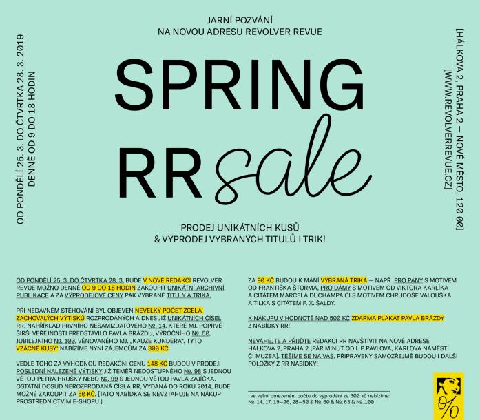 Jarní pozvání na novou RR adresu / Prodej unikátních kusů + výprodej vybraných titulů i trik!